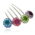 Elegant Hair Jewelry Rhinestone Crystal Ball Metal Hairpin Clip Comb - Multicolor