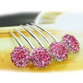 Elegant Hair Jewelry Rhinestone Crystal Ball Metal Hairpin Clip Comb - Pink