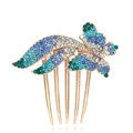 Hair Accessories Rhinestone Crystal Butterfly Metal Hair Pin Clip Comb - Blue