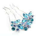 Hair Jewelry Crystal Rhinestone Lover Flower Metal Hairpin Clip Comb Pin - Blue