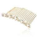 Hair Jewelry Crystal Rhinestone Pearl Metal Hair Pin Comb Clip - White