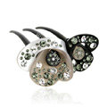 Hair Jewelry Crystal Rhinestone lotus Flower Hair Pin Comb Clip - Black