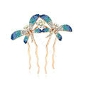 Hair Jewelry Rhinestone Crystal Butterfly Metal Hair Pin Clip Comb - Blue