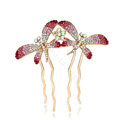 Hair Jewelry Rhinestone Crystal Butterfly Metal Hair Pin Clip Comb - Pink