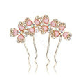 Hair Jewelry Rhinestone Crystal Flowers Metal Hair Pin Clip Comb - Pink