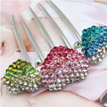 Hair Jewelry Rhinestone Crystal Lover Metal Hairpin Clip Comb Pin - Multicolor