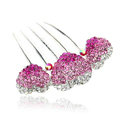 Hair Jewelry Rhinestone Crystal Lover Metal Hairpin Clip Comb Pin - Pink