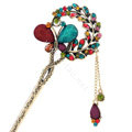 Retro Butterfly Crystal Rhinestone Hairpin Hair Clasp Clip Fork Stick - Multicolor