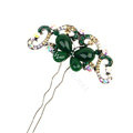 Retro HairPin Crystal Rhinestone Butterfly Hair Comb Clip Fork Stick - Green