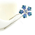 U Shape HairPin Crystal Rhinestone Flower Metal Hair Comb Clip Fork Stick - Blue