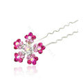 U Shape HairPin Crystal Rhinestone Flower Metal Hair Comb Clip Fork Stick - Pink