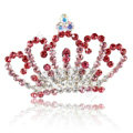 Alloy Crown Bride Hair Accessories Crystal Rhinestone Hair Pin Clip Combs - Pink