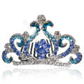 Bride Hair Accessories Crystal Rhinestone Crown Alloy Hair Pin Clip Combs - Blue