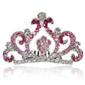 Bride Hair Accessories Crystal Rhinestone Crown Alloy Hair Pin Clip Combs - Pink