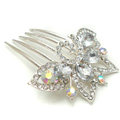 Bride Hair Accessories Crystal Rhinestone Flower Alloy Hair Clip Combs - White