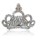 Bride Hair Accessories Rhinestone Crystal Alloy Crown Hair Pin Clip Combs - White