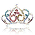 Crown Alloy Bride Hair Accessories Crystal Rhinestone Hair Pin Clip Combs - Multicolor