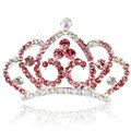 Crown Alloy Bride Hair Accessories Crystal Rhinestone Hair Pin Clip Combs - Pink