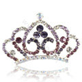 Crown Alloy Bride Hair Accessories Crystal Rhinestone Hair Pin Clip Combs - Purple
