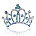 Crown Alloy Bride Hair Accessories Rhinestone Crystal Hair Pin Clip Combs - Blue