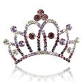 Crown Alloy Bride Hair Accessories Rhinestone Crystal Hair Pin Clip Combs - Purple