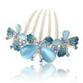 Elegant Hair Accessories Alloy Rhinestone Crystal Flower Hair Combs Clip - Blue