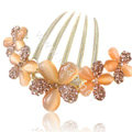 Elegant Hair Accessories Alloy Rhinestone Crystal Flower Hair Combs Clip - Champagne