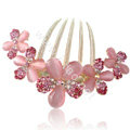 Elegant Hair Accessories Alloy Rhinestone Crystal Flower Hair Combs Clip - Pink