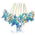 Elegant Hair Accessories Rhinestone Crystal Butterfly Alloy Hair Combs Clip - Blue