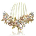 Elegant Hair Accessories Rhinestone Crystal Butterfly Alloy Hair Combs Clip - Champagne