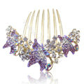 Elegant Hair Accessories Rhinestone Crystal Butterfly Alloy Hair Combs Clip - Purple