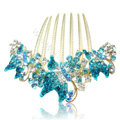 Elegant Hair Accessories Rhinestone Crystal Butterfly Alloy Hair Combs Clip - Sky blue