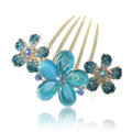 Elegant Hair Accessories Rhinestone Crystal Flower Alloy Hair Combs Clip - Blue