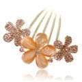 Elegant Hair Accessories Rhinestone Crystal Flower Alloy Hair Combs Clip - Champagne