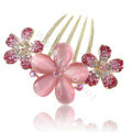 Elegant Hair Accessories Rhinestone Crystal Flower Alloy Hair Combs Clip - Pink