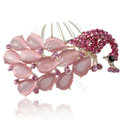 Elegant Hair Accessories Rhinestone Crystal Peacock Alloy Hair Combs Clip - Pink