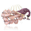 Elegant Hair Accessories Rhinestone Crystal Peacock Alloy Hair Combs Clip - Purple