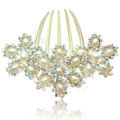 Elegant Hair Accessories Rhinestone Crystal Pearl Flower Alloy Hair Combs Clip - White