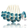 Fashion Hair Accessories Rhinestone Crystal Peacock Alloy Hair Combs Clip - Blue