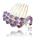 Fashion Hair Accessories Rhinestone Crystal Peacock Alloy Hair Combs Clip - Purple