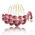 Fashion Hair Accessories Rhinestone Crystal Peacock Alloy Hair Combs Clip - Red