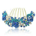 Hair Accessories Alloy Crystal Rhinestone Flower Bride Hair Combs Clip - Blue