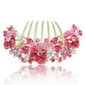 Hair Accessories Alloy Crystal Rhinestone Flower Bride Hair Combs Clip - Pink
