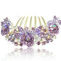 Hair Accessories Alloy Crystal Rhinestone Flower Bride Hair Combs Clip - Purple