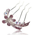 Hair Accessories Alloy Crystal Rhinestone Flower Hair Pin Clip Fork Combs - Purple