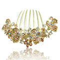 Hair Accessories Alloy Rhinestone Crystal Flower Bride Hair Combs Clip - Champagne