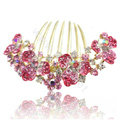 Hair Accessories Alloy Rhinestone Crystal Flower Bride Hair Combs Clip - Pink
