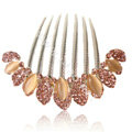 Hair Accessories Alloy Rhinestone Crystal Flower Elegant Hair Combs Clip - Champagne