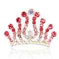 Hair Accessories Crystal Rhinestone Alloy Crown Hair Pin Combs Clip - Red