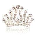 Hair Accessories Crystal Rhinestone Alloy Crown Hair Pin Combs Clip - White